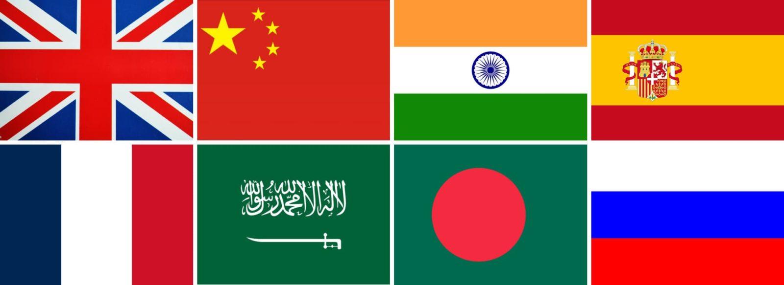 Список мировых языков. Флаги самых популярных языков по странам